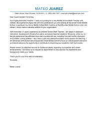 Best Cover Letter Example Education Teacher Professional Best Cover
