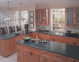 photo of black laminate countertops installed on solid wood cabinets