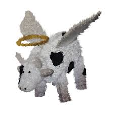 central lighted angel cow outdoor decoration with white constant led lights