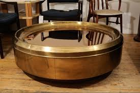 ... Golden Charming Round Brass Coffee Table Contemporary Modern Emphasize  Furniture Glass On Top Mirror Bamboo ...