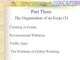 unit one part three the organization of an essay cheating in 1 unit one part three the organization of an essay 3 cheating in exams environmental pollution traffic jams the problems of global warming