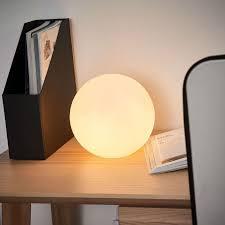 Tischleuchte Kiia Kugel Glas Opal Weiß Tischlampe Schlafzimmer