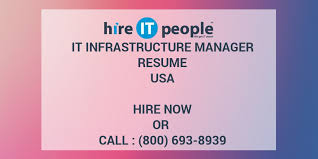 It Infrastructure Manager Resume Hire It People We Get It Done