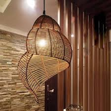 southeast asian pastoral style rattan art droplighthand knitted conchsnail pendant light restaurant asian style lighting