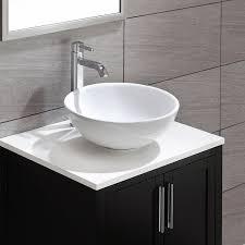 bathroom sink. Kraus KCV-141 White Round Ceramic Bathroom Sink - Vessel Sinks Amazon.com R