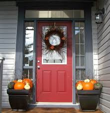 Decorations:Divine Red Wood Single Front Door Including Orange Pumpkin Front  Porch Decoration Ideas Modern