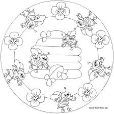 Spring Bee Mandala Coloring Mandalas Bijen Mandala Kleurplaten