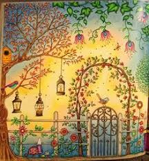 the secret garden coloring book close up of right side of gazebo two page spread