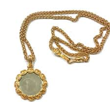 authentic vintage chanel gold plated cc round mirror large pendant necklace