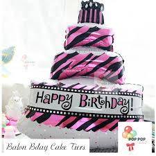Balon Foil Happy Birthday Cake 3 Susun Jumbo Warna Tosca Size 100 Cm