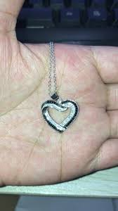 fashion sterling silver jewelry pure 925 sterling silver black stone heart shaped necklace for women