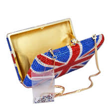 Designer Evening Bags Us 74 12 32 Off Luxury Crystal Bag Handcraft Union Jack Fashion Designer Evening Bags Day Clutches Uk Flag Women Handbags Bridal Wedding Purse In