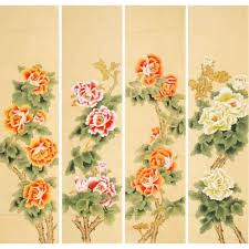 chinese peony flower four panel screen painting