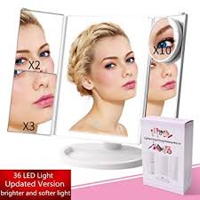 new upgrade lighted makeup mirror portable travel vanity mirror with 4pcs tape 36 lights
