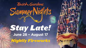summer nights at busch gardens tampa nightly fireworks weekend concerts more