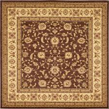 unique loom agra brown 10 ft x 10 ft square rug