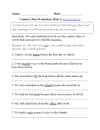 4 th grade english worksheets fitted portray context clues p 1 ...