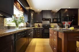 Dark Wood Kitchen Unusual Dark Kitchen Design With Cream Tile Backsplash And Dark