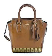 Coach Legacy Studded Mini Tanner Saddle Brown Leather Crossbody Handbag
