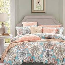peach grey and sky blue vintage fl bedding french country rustic style cotton damask full queen size bedding sets