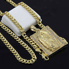 mens gold plated hip hop block virgin mary pendant 24