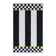 courtly stripe towel black white