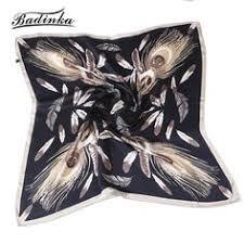 <b>Badinka 2019 New</b> Summer 70*70cm Feather Printed Twill Silk ...