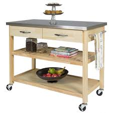 Kitchen Cart Unfurnished Birch Wood Rolling Trolley Portable