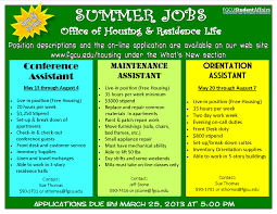 Fgcu Housing And Residence Life Summer Job Opportunities