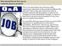 free pdf download 5 why should the we hire you as materials planner position material planner job description