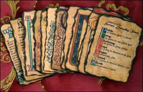 loose pages from book of shadows high quality written in calligraphy readable text and images with edges altered by hand to look old