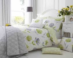 cotton rich ine fl design duvet set in spring green and light grey thumbnail 1
