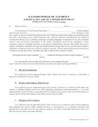 Power Of Attorney For Child Care Free Illinois Power Of Attorney For Minor Child Form Pdf