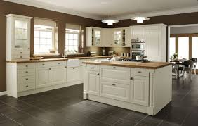 Gray Square Tile Kitchen Floor Plus White Wooden Island And Cabinets