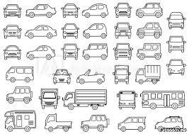 シンプルな車の正面と横線画 Adobe Stock でこのストックイラストを