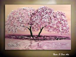 original contemporary pink cherry blossom painting modern impasto palette knife thick painting blooming tree 36