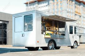 3d Food Truck Design White Food Truck With Detailed Interior On Street Takeaway
