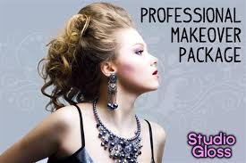 studio gloss makeover package including mac makeup application hair styling and more
