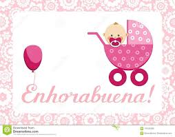 Congratulations Newborn Baby Girl Postcard Spanish Vector Stock