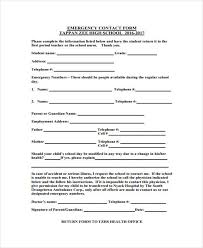 Employment Emergency Contact Form Free 26 Emergency Contact Forms Pdf