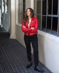 parisian style with maje paris red leather jacket and stud boots worn by inspiring wit