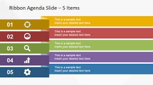 Powerpoint Create Slide Template 5 Items Ribbon Agenda Slide Template For Powerpoint Slidemodel