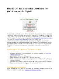 How To Get Tax Clearance Certificate For Your Company In Nigeria