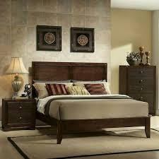 Espresso King Size Wood Platform Bed Frame Panel Headboard Bedroom Furniture