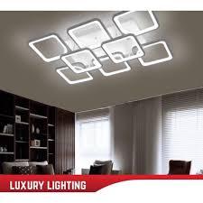 Bảo hành 2 năm) Đèn LED ốp trần hình chữ nhật 8 cánh vuông, đèn trang trí  hiện đại 3 chế độ ánh sáng, kèm điều khiển