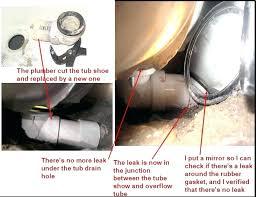 bathtub drain leaking shoe how to fix a pipe image bathroom kohler stopper repair bathtub drain leaking