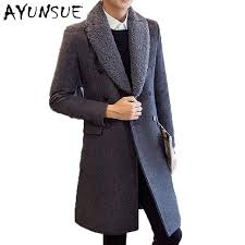 wool winter jacket for men double ted overcoat fur collar coats black long slim mens brown