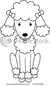 Small Picture Of A Black And White Poodle Coloring Page In A Vector Clip Art