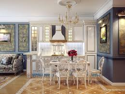 wonderful victorian home decor dining room with white wood dining table and chairs on tile floor over crystal chandelier plus fl pattern fabric sofa