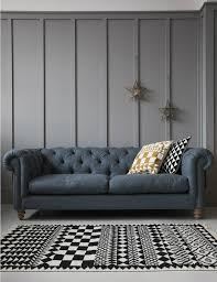 Two Seater Sofa Living Room Wool Chesterfield